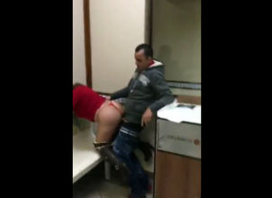 Immodest pound in rest room at..